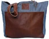 Diaper Bag Thomas- Handmade Bohemian Fabric & Leather-Environmentally Conscious- purse/antique/pouch/hand bag/designer/vintage/tote