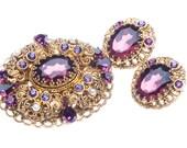 Amethyst Purple Rhinestone Brooch Earring Set Filigree West Germany 1940s
