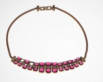 Crown Trifari Alfred Philippe Sterling Ruby Red Rhinestone Necklace REPAIR