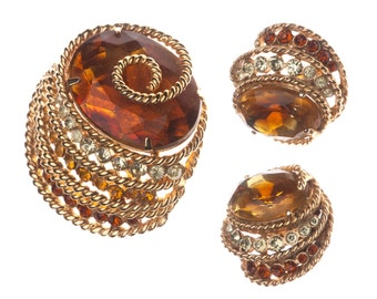 Vintage Corocraft Fall Brooch and Earrings Topaz Set