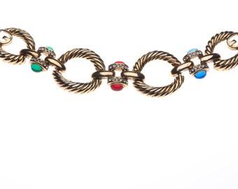 Givenchy Bijoux Gold Moghul Bracelet with Cabochons 1980s