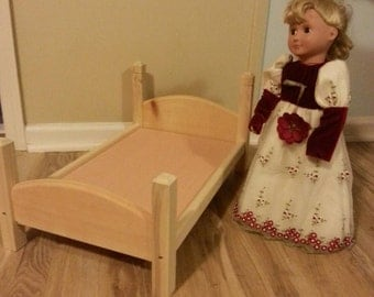 handmade 18 inch doll bed made for American Girl size doll furniture unfinished ready to paint