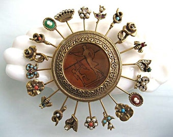 Goldette Pinwheel Stickpin Brooch, Amber Glass Intaglio, Venus and Cupid, Twenty Hatpin Figurals, Greek Mythology Image