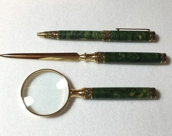 HAND TURNED 3 Piece Gift Set, From burl, dyed green, Pen, Letter Opener, Magnifying Lens, Gold, optional Rosewood box, Can Be Personalized.