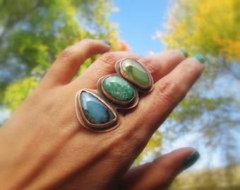 Blue Peruvian Opal Ring Imperial Jasper Amazonite Gemstone Cocktail Statement Mineral Stone Metalsmith Copper Jewelry Multistone