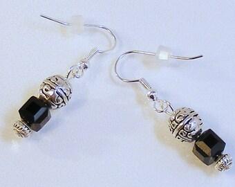 SILVER Filigree - BLACK CZ Earrings