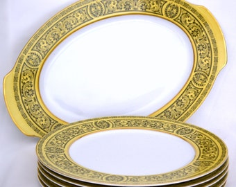 Golden Damask Fine China, Classic Scroll Yellow Black Gold Pattern - 5 Plates & 1 Platter