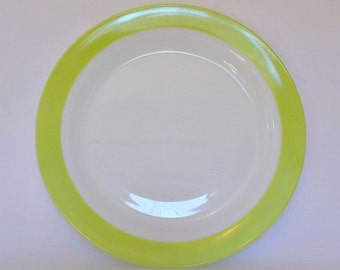 Pyrex Platter Chop Plate White Milk Glass - Lime Green - Vintage Table Setting