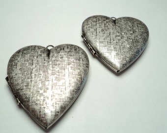 2 - Vintage antique silver plated basket weave Heart Lockets - m39as