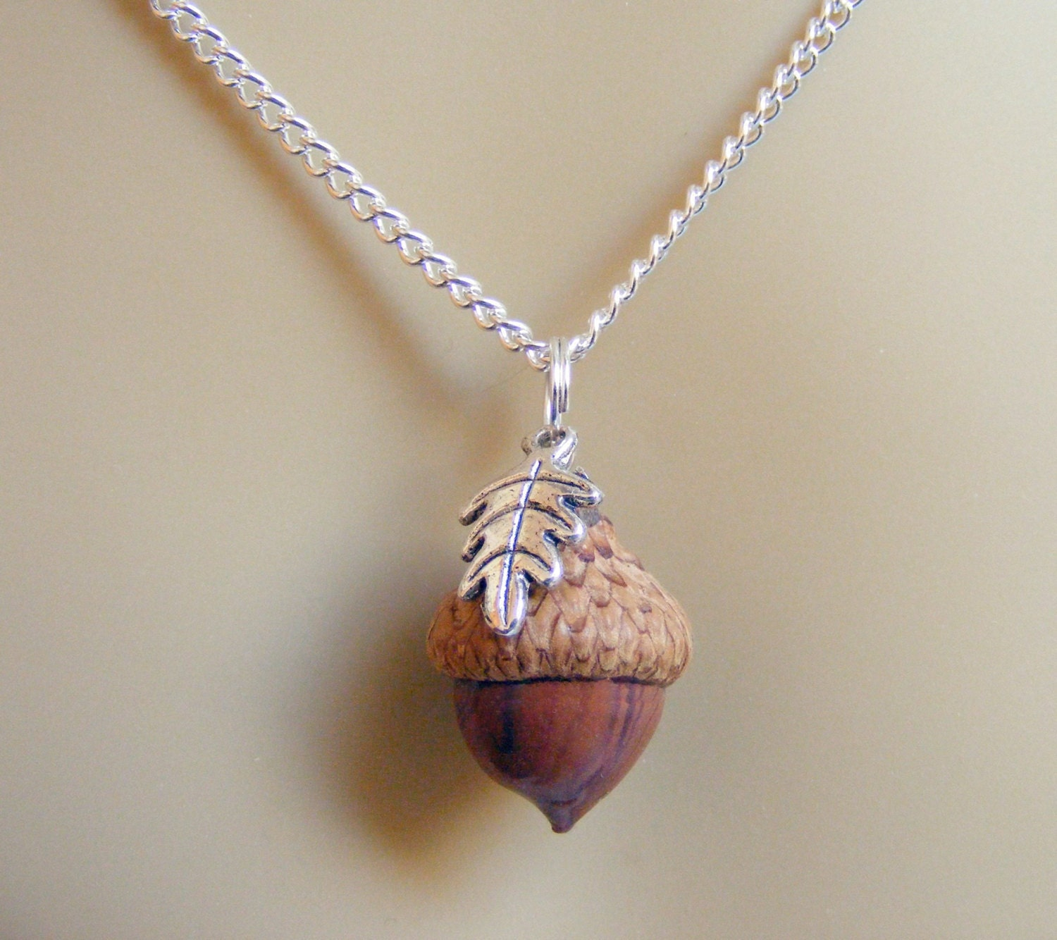 acorn necklace lucky charm necklace acorn charm