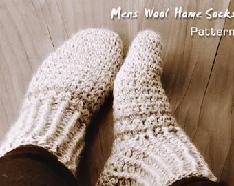 Mens Wool Home Socks Crochet Pattern