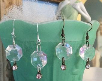 Upcycled Repurposed Vintage Chandelier Crystal Glass Earrings