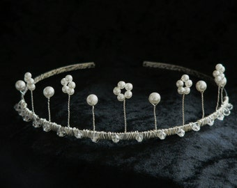 Tiara  - White Pearl and Clear Crystal Design