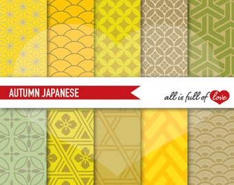 FALL Digital Paper Thanksgiving Papers Japan Digital Scrapbooking Geometric Patterns Golden Yellow Sage Green Brown Graphics 12x12