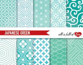 Patterns Mint Green Digital Paper Pack JAPAN Scrapbooking PATTERNS Aqua Green Emerald Background Graphics Oriental textures 12x12