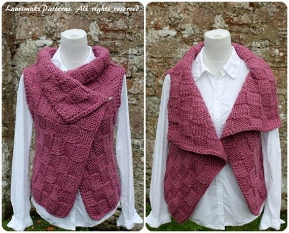 Knitting PATTERN-Twilleys woolly wrap sleeveless jacket