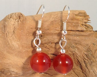 RED CARNELIAN Round 10mm Natural Stone EARRINGS on Nickelfree Hooks