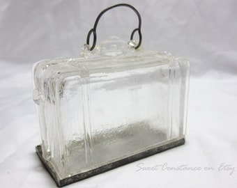 Antique Clear Glass Suitcase Candy Container // Westmoreland Glass // West Brothers // Vintage Candy Jar //
