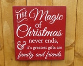 The Magic of Christmas customizable rustic hand painted Christmas sign