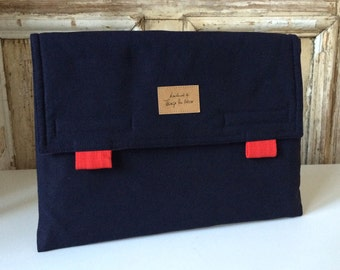 "15 inch macbook PRO case with pocket, MacBook pro 15 inch retina envelope case, Laptop bag ""Navy_Red"""
