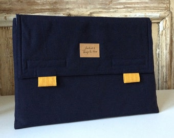 "15 inch macbook PRO case with pocket, MacBook pro 15 inch retina envelope case, Laptop bag ""Navy_Mustard yellow"""