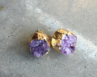 Druzy amethyst earrings