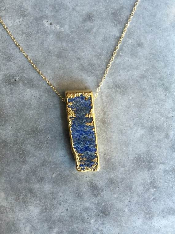 Lapis bar necklace, boho jewelry, layering necklace, Bar necklace