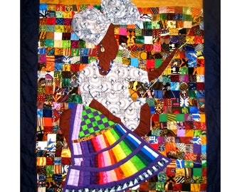 "Colorful Art Quilt Greeting Card. Blank 5.5"" x 8.5"" Card. Multi color quilt with quilter. African attire. A quilters dream"