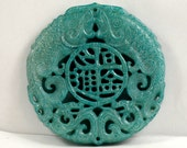 Unique Antique Blue Jade Pendant Double Side Fish Rich Zhaocaijinbao Carved Pendant Amulet Talisman for Your Handmade Jewelry
