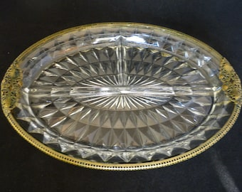 Relish Tray with Gold Antique Trim, 3 Section Dish, Glass and Metal