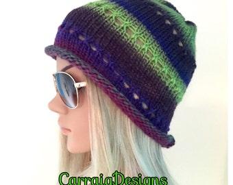 BUY1GET1HALFPrice beanie cloche hat hand knit womens teens Ooak Unique designer irish aran multicolour,hippie winter gifts,purple skull cap
