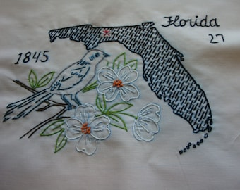 Quilt Blocks States Birds Flowers Quilt Blocks 50 Embroidery States Blocks for Quilt or other projects FREE Shipping