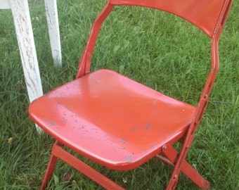 Vintage steel folding sideline chair , vintage folding chair , red folding chair , vintage folding outdoor chair