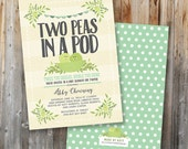 Twin Baby Shower Invitation: Two Peas In A Pod, Printable, Custom, Blue and Green, Personalized, Double Sided