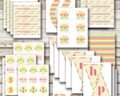 Our Little Sunshine Printable Party Package, Girl Birthday Decorations, INSTANT DOWNLOAD