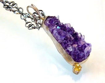 """Purple Druzy and Citrine Necklace, Genuine Amethyst Gemstone Pendant, Heart and infinity Chain 25"""" Long, Natural Crystal, Amethyst Nights"""