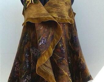 "Nuno Felted jacket Vest Waistcoat ""Chords autumn"""