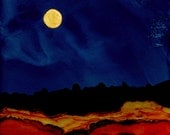"Ink Painting, ""Arizona Nights"" , matted, backed, ready for framing, art, wall decor, blue, rust, moon"