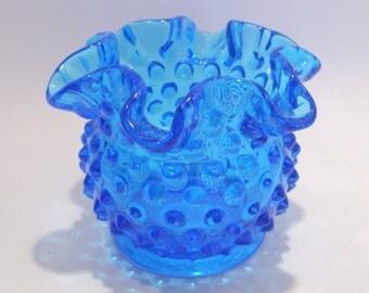Fenton Turquoise Blue Hobnail Ruffled Vase
