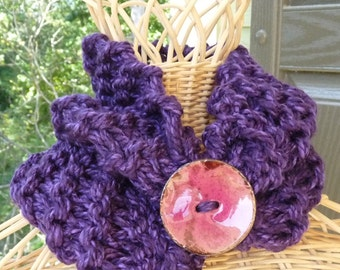 Ladies Purple Neck Warmer with Button