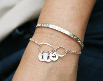 Large sterling silver infinity monogram bracelet,initial bracelet,Personalized jewelry,Mother love bracelet,Sister gift,Mother's day gift