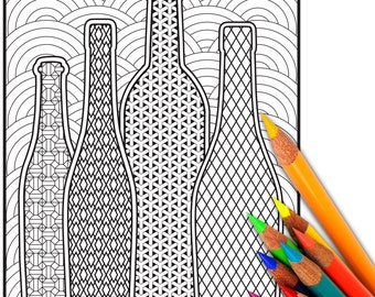 WINE, Adult Coloring Page, Adult Coloring Sheet, Coloring, Page, Sheet, Digital, Printable, Coloring Page for Adults