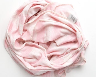 Girl swaddle baby blanket. Cream and pink, Stretchy soft fabric style, swaddling wrap. Sweet baby girl. Handmade in MN. Lippybrand