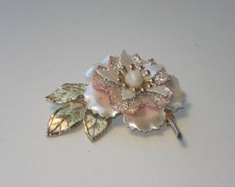 Vintage Pale Pink Flower Brooch - Gold Pearl Enamel Floral Pin - 1960s Jewelry
