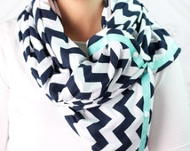 SUMMER SALE! Multi Use Scarf with Snaps Navy Chevron, Hold Me close Nursing Scarf, Workout Scarf, infinity scarf