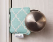 The Original Cushy Closer Door Cushion - Blue & White Quatrefoil (small) - Door Latch Cover