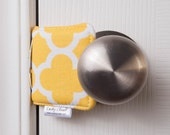 The Original Cushy Closer Door Cushion - Yellow & White Quatrefoil - Door Latch Cover