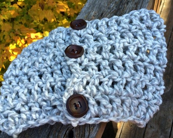 Toddlers Crocheted Cowl Scarf with Buttons  Hand Made in USA