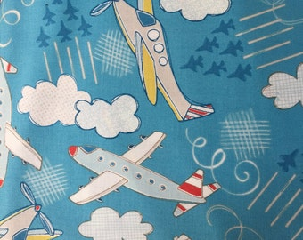 Plane fabric, airplanes fabric By the yard Aqua blue kids fabric cotton quilt fabric helicopters clouds jets baby fabric 44/43 inch wide