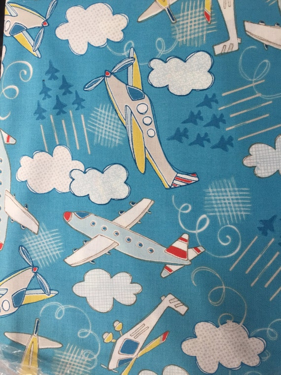 Plane fabric airplanes fabric by the yard aqua blue kids for Airplane fabric by the yard
